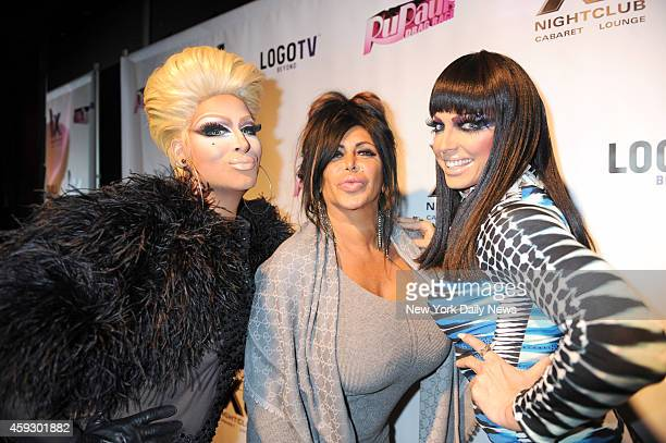 Angelina Big Ang Raiola in center with Drag Race girls Roxxx Andrew and Alyssa Edwards at the 5th season celebration for RUPAUL'S DRAG RACE series...