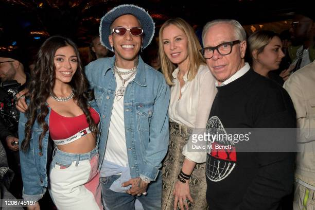 Angelina Fiol Lacour Sfera Ebbasta Dee Ocleppo and Tommy Hilfiger attend the TOMMYNOW after party at Annabels on February 16 2020 in London England