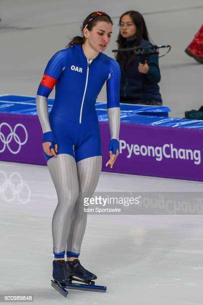 Angelina Golikova cools down following the 1000M Ladies Final during the 2018 Winter Olympic Games at Gangneung Oval on February 14 2018 in...