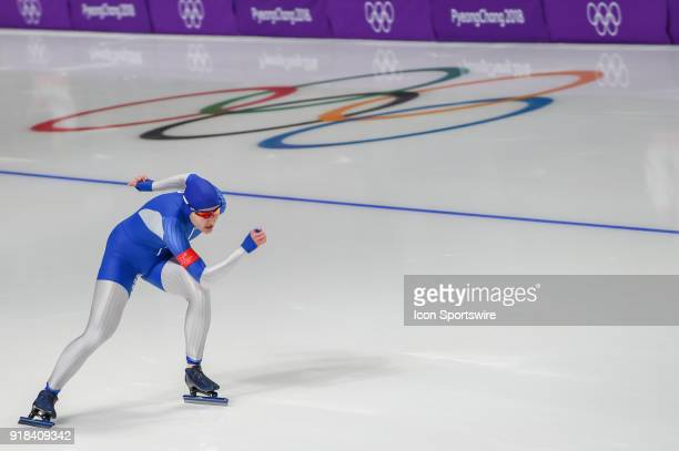 Angelina Golikova heads down the backstretch during the 1000M Ladies Final during the 2018 Winter Olympic Games at Gangneung Oval on February 14 2018...