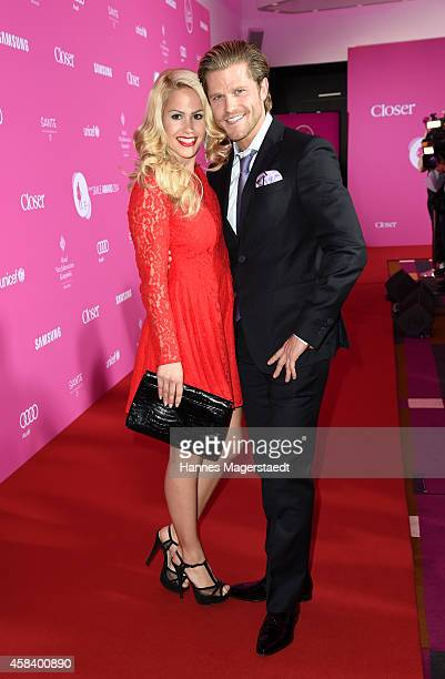 Angelina Heger and Paul Janke attend the 'CLOSER Magazin Hosts SMILE Award 2014' at Hotel Vier Jahreszeiten on November 4 2014 in Munich Germany