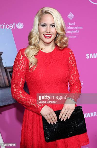 Angelina Heger attends the CLOSER Magazin Hosts SMILE Award 2014 at Hotel Vier Jahreszeiten on November 4, 2014 in Munich, Germany.