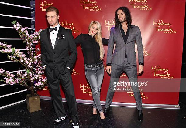 Angelina Heger unveils the new wax figures of Justin Timberlake and Russell Brand at Madame Tussauds on April 2 2014 in Berlin Germany