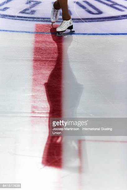 Angelina Huang of the United States competes in the Junior Ladies Short Program on day 2 of the ISU Junior Grand Prix of Figure Skating at Eis Arena...