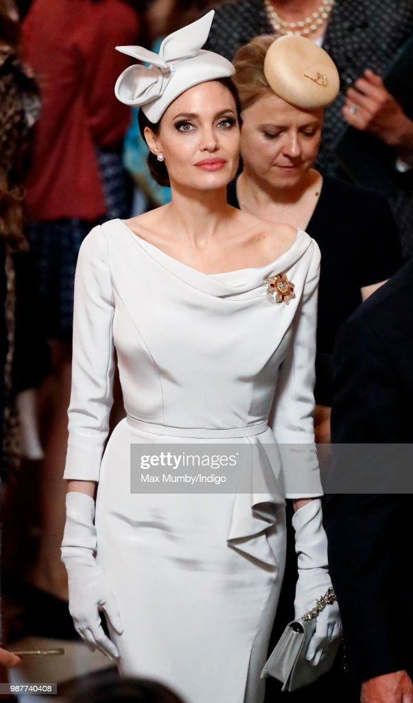 Angelina Jolie, an Honorary Dame Commander of The Most Distinguished Order of Saint Michael and Saint George, attends a Service of Commemoration and Dedication marking the 200th Anniversary of the Most Distinguished Order of St Michael and St George at St Paul's Cathedral on June 28, 2018 in London, England. The Order of St Michael and St George was founded in 1818 by King George IV and is awarded to men and women who hold high office or who render extraordinary or important non-military service in a foreign country, and can also be conferred for important or loyal service in relation to foreign and Commonwealth affairs.