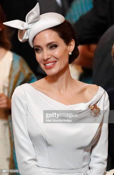Angelina Jolie an Honorary Dame Commander of The Most Distinguished Order of Saint Michael and Saint George attends a Service of Commemoration and...