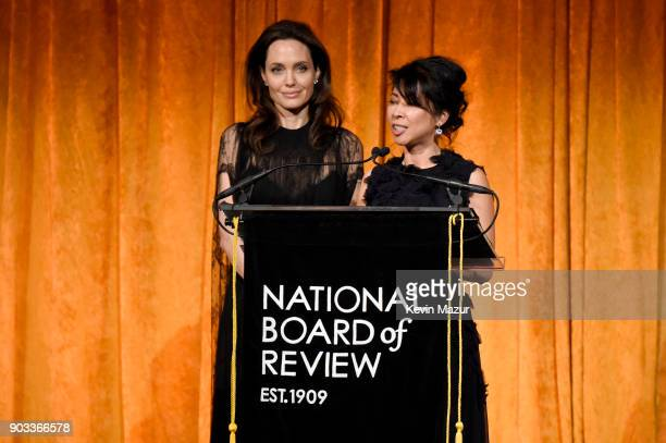 Angelina Jolie and activist Loung Ung attend the National Board of Review Annual Awards Gala at Cipriani 42nd Street on January 9 2018 in New York...