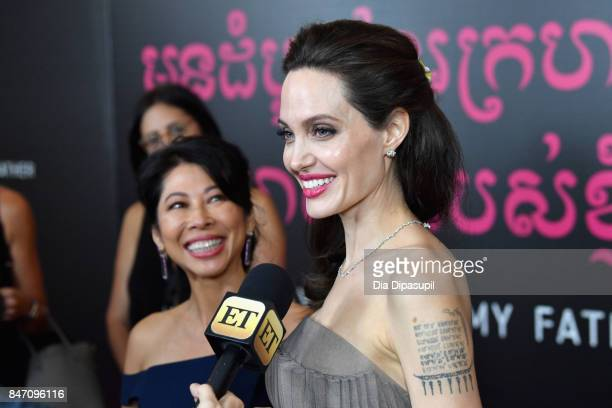 Angelina Jolie and author Loung Ung attend the 'First They Killed My Father' New York Premiere on September 14 2017 in New York City