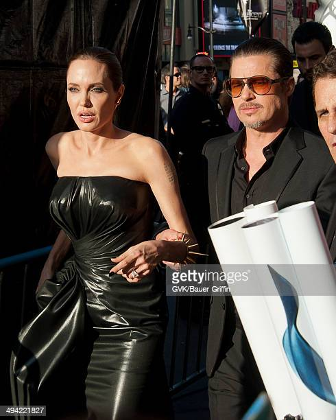 Angelina Jolie and Brad Pitt are seen at the 'Maleficent' premiere on May 28 2014 in Los Angeles California