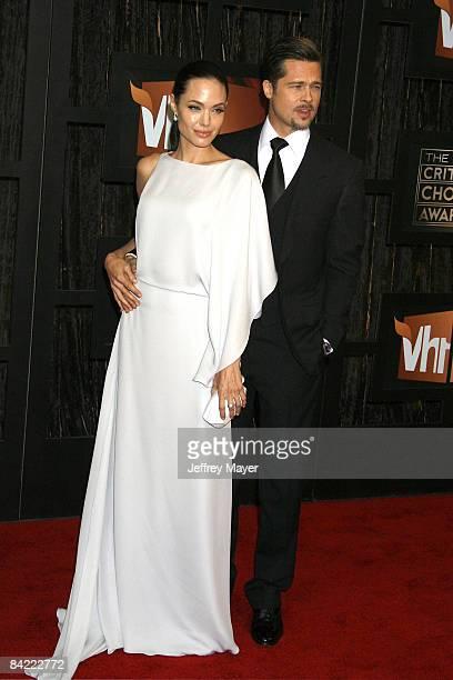 Angelina Jolie and Brad Pitt arrive at the 14th Annual Critics' Choice Awards at the Santa Monica Civic Center on January 8, 2009 in Santa Monica,...