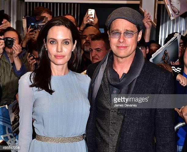 Angelina Jolie and Brad Pitt arrive to City Cinemas on November 3 2015 in New York City
