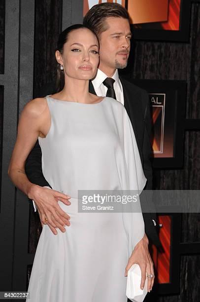 Angelina Jolie and Brad Pitt arrives at the 14th Annual Critics' Choice Awards at the Santa Monica Civic Center on January 8, 2009 in Santa Monica,...