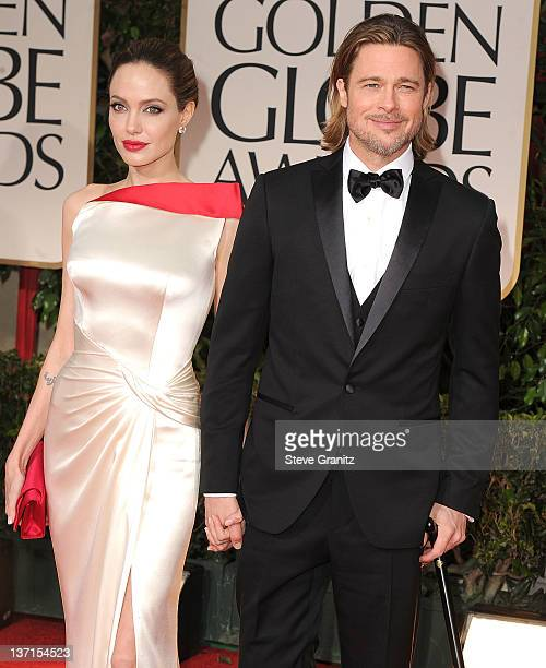 Angelina Jolie and Brad Pitt arrives at the 69th Annual Golden Globe Awards at The Beverly Hilton hotel on January 15 2012 in Beverly Hills California