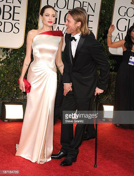 Angelina Jolie and Brad Pitt arrives at the 69th Annual Golden Globe Awards at The Beverly Hilton hotel on January 15, 2012 in Beverly Hills,...