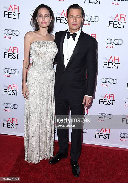 Angelina Jolie and Brad Pitt arrives at the AFI FEST 2015 Presented By Audi Opening Night Gala Premiere Of Universal Pictures' 'By The Sea' at TCL...