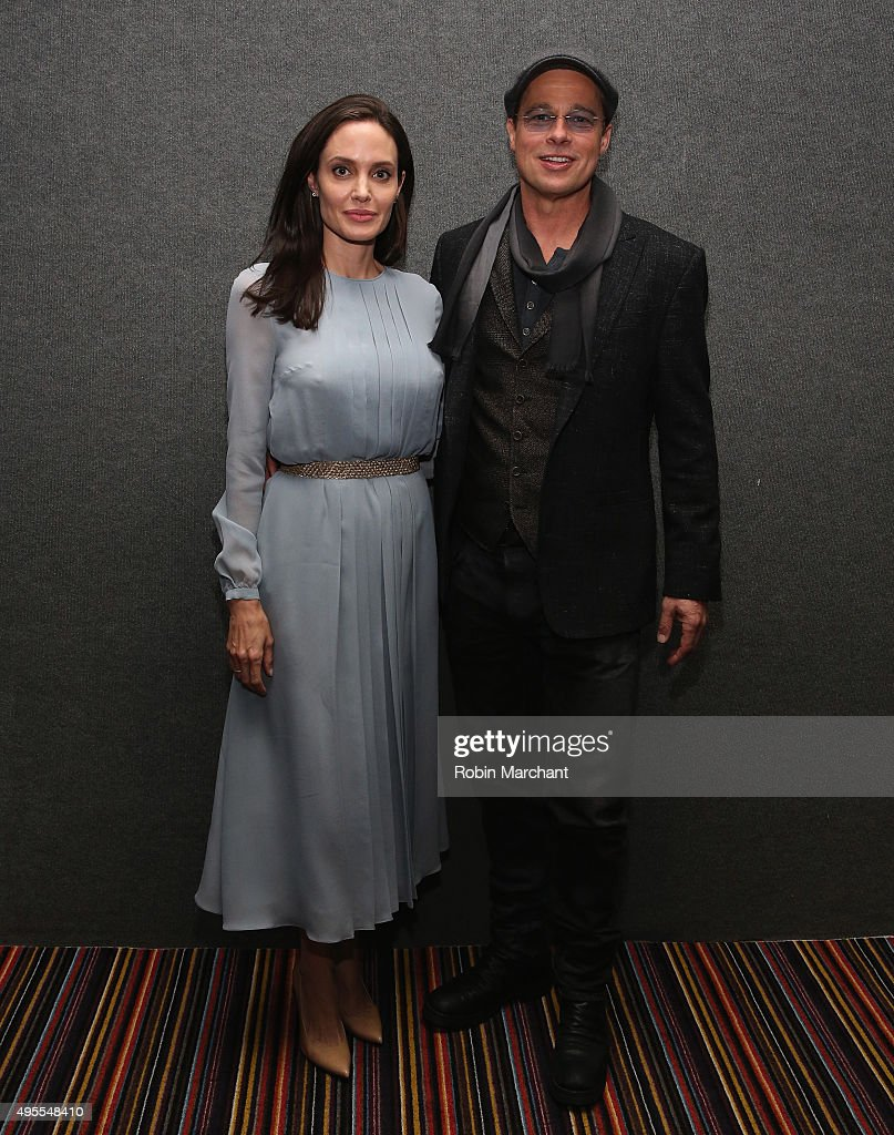 Angelina Jolie (L) and Brad Pitt attend an official Academy Screening of BY THE SEA hosted by The Academy Of Motion Picture Arts And Sciences on November 3, 2015 in New York City.