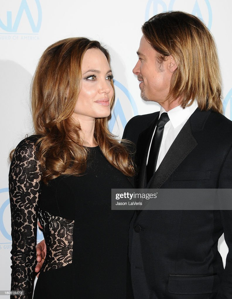 Angelina Jolie and Brad Pitt attend the 23rd annual Producers Guild Awards at The Beverly Hilton hotel on January 21, 2012 in Beverly Hills, California.
