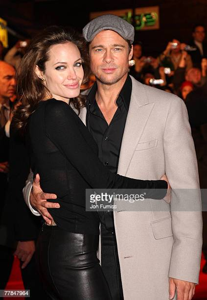 Angelina Jolie and Brad Pitt attend the 'Beowulf' European premiere at the Vue Leicester Square on November 11 2007 in London England