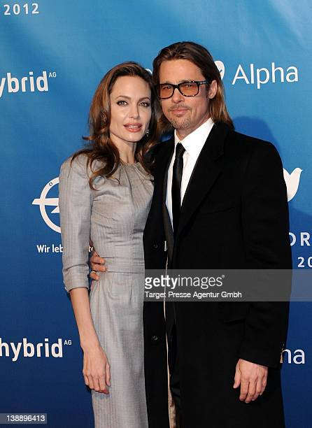 Angelina Jolie and Brad Pitt attend the 'Cinema For Peace Gala' during day five of the 62nd International Film Festival on February 13 2012 in Berlin...