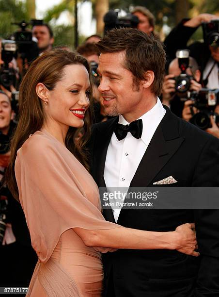 Angelina Jolie and Brad Pitt attend the 'Inglourious Basterds' Premiere at the Grand Theatre Lumiere during the 62nd Annual Cannes Film Festival on...