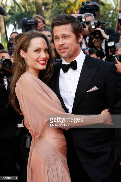 Angelina Jolie and Brad Pitt attend the Inglourious Basterds premiere held at the Palais Des Festivals during the 62nd International Cannes Film...