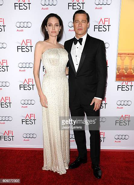 """Angelina Jolie and Brad Pitt attend the premiere of """"By the Sea"""" at the 2015 AFI Fest at TCL Chinese 6 Theatres on November 5, 2015 in Hollywood,..."""