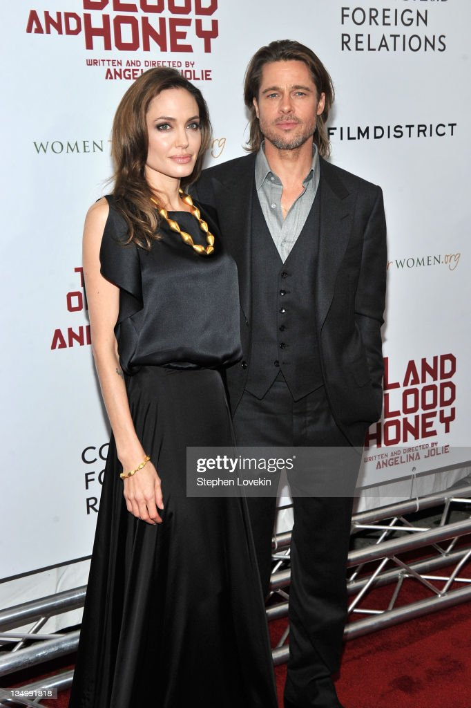Angelina Jolie and Brad Pitt attend the premiere of 'In the Land of Blood and Honey' at the School of Visual Arts on December 5, 2011 in New York City.