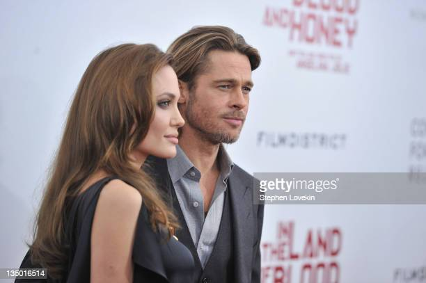 Angelina Jolie and Brad Pitt attend the premiere of 'In the Land of Blood and Honey' at the School of Visual Arts on December 5 2011 in New York City