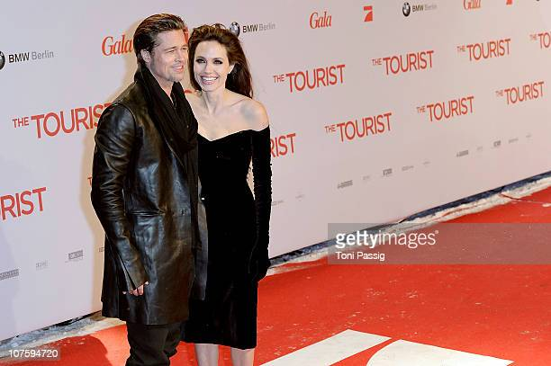 Angelina Jolie and Brad Pitt attend the 'The Tourist' European Premiere at CineStar on December 14, 2010 in Berlin, Germany.