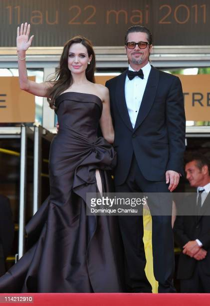 "Angelina Jolie and Brad Pitt attend ""The Tree Of Life"" Premiere during the 64th Annual Cannes Film Festival at Palais des Festivals on May 16, 2011..."