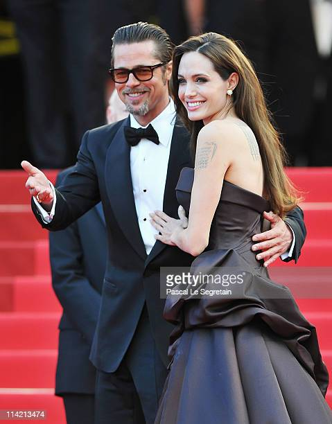 Angelina Jolie and Brad Pitt attend The Tree Of Life premiere during the 64th Annual Cannes Film Festival at Palais des Festivals on May 16 2011 in...