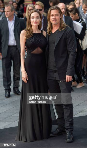 Angelina Jolie and Brad Pitt attend the world premiere of 'World War Z' at The Empire Cinema on June 2, 2013 in London, England.