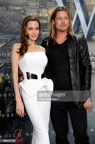 Angelina Jolie and Brad Pitt attend the 'WORLD WAR Z' Germany Premiere at Sony Centre on June 4 2013 in Berlin Germany