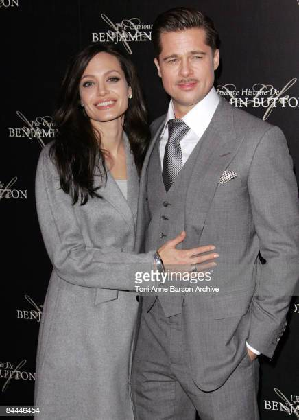 Angelina Jolie and Brad Pitt attends 'The Curious Case of Benjamin Button' Premiere on January 22 2009 at the Gaumont Marignan Theater in Paris France
