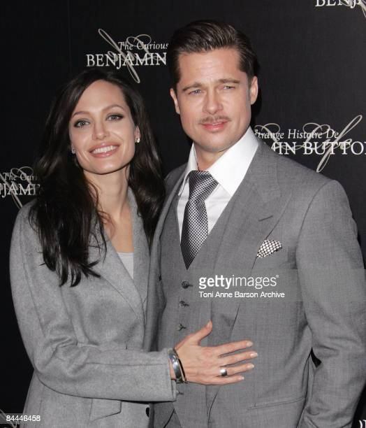 Angelina Jolie and Brad Pitt attends The Curious Case of Benjamin Button Premiere on January 22 2009 at the Gaumont Marignan Theater in Paris France