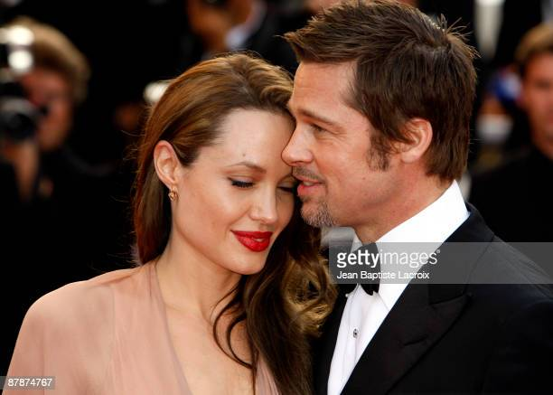 Angelina Jolie and Brad Pitt attends the 'Inglourious Basterds' Premiere at the Grand Theatre Lumiere during the 62nd Annual Cannes Film Festival on...