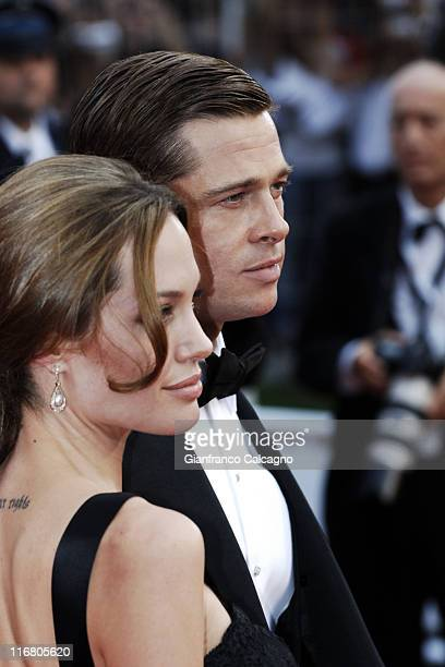 Angelina Jolie and Brad Pitt during 2007 Cannes Film Festival 'A Mighty Heart' Premiere Arrivals at Palais des Festivals in Cannes France