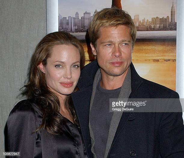 Angelina Jolie and Brad Pitt during 'God Grew Tired of Us' Los Angeles Premiere Arrivals at Pacific Design Center in West Hollywood California United...