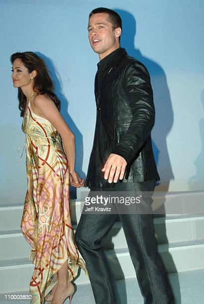 Angelina Jolie and Brad Pitt during ShoWest 2005 20th Century Fox Luncheon at Paris Hotel in Las Vegas Nevada United States