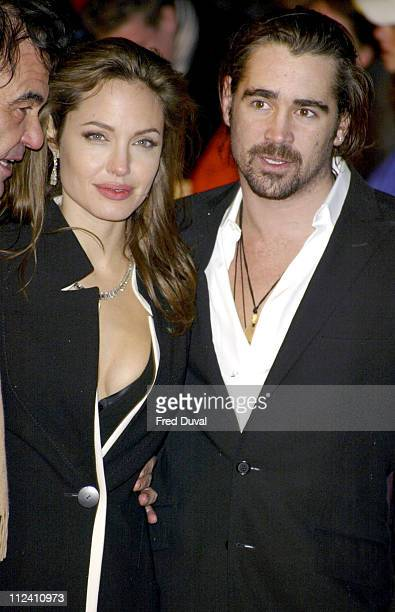 "Angelina Jolie and Colin Farrell during ""Alexander"" London Premiere - Arrivals at Odeon Leicester Square in London, Great Britain."