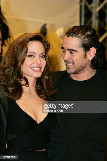Angelina Jolie and Colin Farrell in In Germany at Arrival Of Cinema Premiere film 'Alexander' Cinedom in Cologne