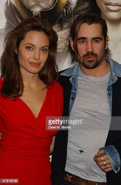 Angelina Jolie and Colin Farrell poses for photographs at the photocall for 'Alexander' at the Dorchester Hotel on January 5, 2005 in London England.