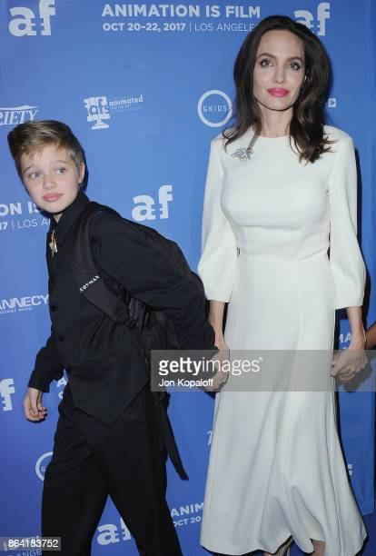 Angelina Jolie and daughter Shiloh JoliePitt arrive at the premiere of Gkids' 'The Breadwinner' at TCL Chinese 6 Theatres on October 20 2017 in...