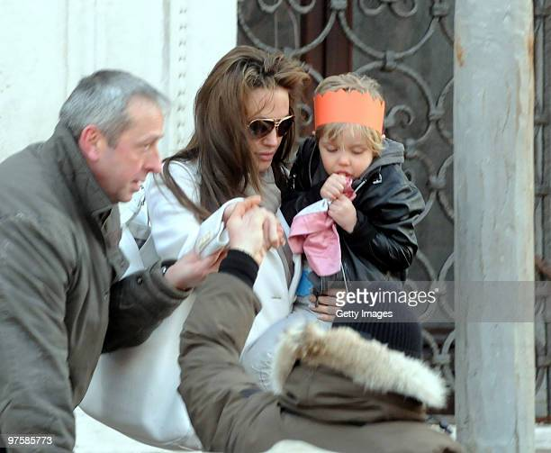 Angelina Jolie and daugther Shiloh depart Palazzo Contarini Poligna on March 7 2010 in Venice Italy