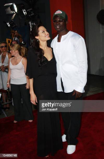 Angelina Jolie and Djimon Hounsou during 'Lara Croft Tomb Raider The Cradle of Life' World Premiere at Grauman's Chinese Theatre in Hollywood...