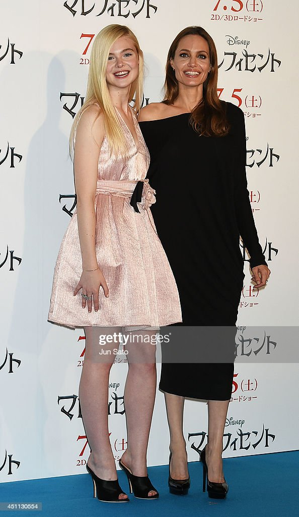 Angelina Jolie and Elle Fanning attend 'Maleficent' press conference for Japan premiere at Grand Hyatt Tokyo on June 24, 2014 in Tokyo, Japan.