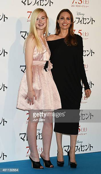 Angelina Jolie and Elle Fanning attend 'Maleficent' press conference for Japan premiere at Grand Hyatt Tokyo on June 24 2014 in Tokyo Japan