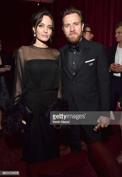 Angelina Jolie and Ewan McGregor attend the Netflix Golden Globes after party at Waldorf Astoria Beverly Hills on January 7 2018 in Beverly Hills...