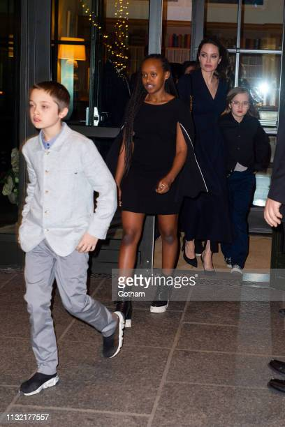 Angelina Jolie and her children attend a screening of 'The Boy Who Harnessed the Wind' in SoHo on February 25 2019 in New York City