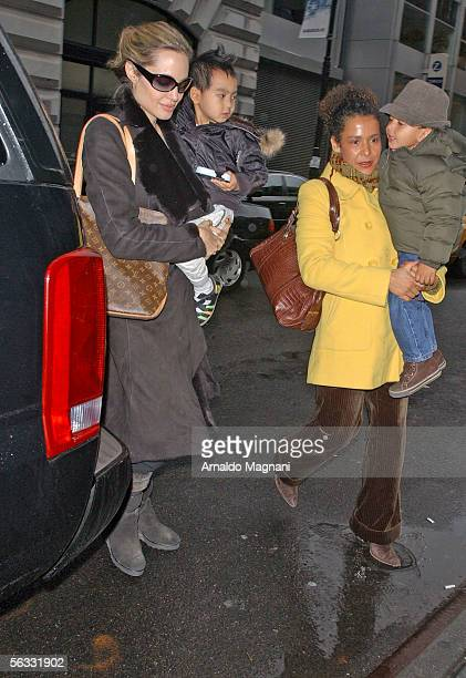 Angelina Jolie and her son Maddox arrive at the Snow Show on 17th Street and Park with Marianne Pearl, widow of slain Wall Street Journal reporter...